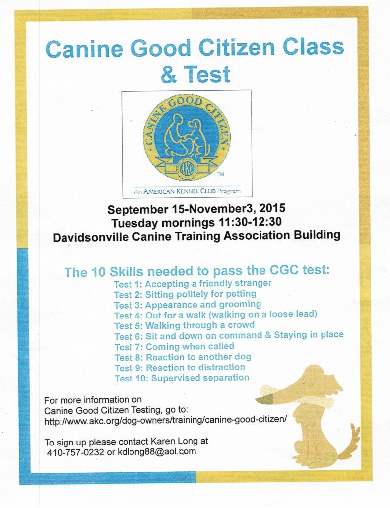 Canine Good Citizen Class and Test